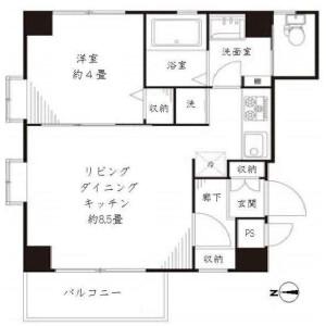 1LDK Apartment in Hyakunincho - Shinjuku-ku Floorplan
