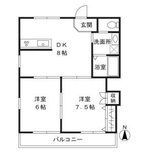 2DK Apartment in Shibokuhoncho - Kawasaki-shi Miyamae-ku Floorplan