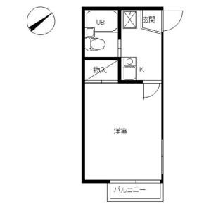 1K Apartment in Tsunashimahigashi - Yokohama-shi Kohoku-ku Floorplan