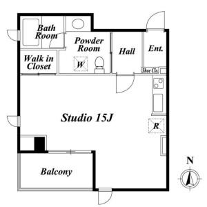 港區芝公園-1R公寓大廈 房間格局
