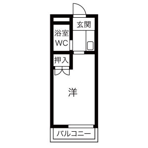 枚方市 尊延寺 1K アパート 間取り