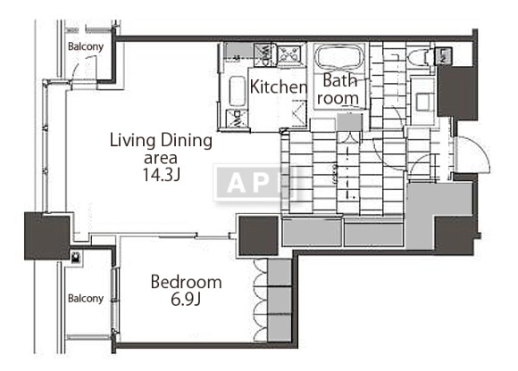 在港區內租賃1LDK 公寓 的房產 房間格局
