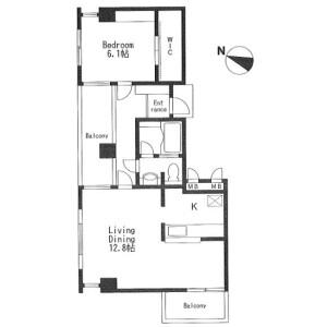 1LDK Apartment in Yoga - Setagaya-ku Floorplan