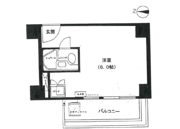 1R Apartment to Buy in Chuo-ku Floorplan