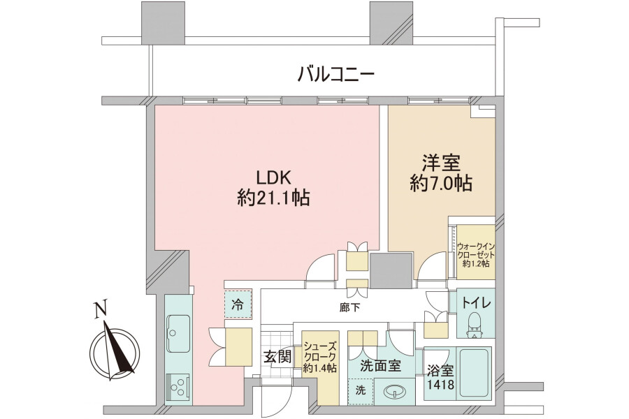 1LDK Apartment to Buy in Minato-ku Floorplan