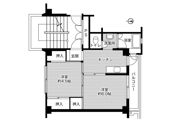 2K Apartment to Rent in Takaoka-shi Floorplan