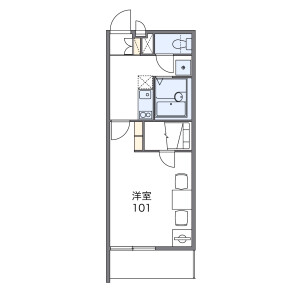 1K 아파트 in Shake - Ebina-shi Floorplan