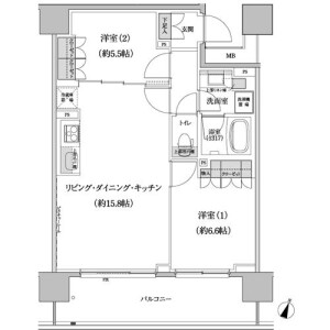 2LDK Apartment in Hommachi - Shibuya-ku Floorplan