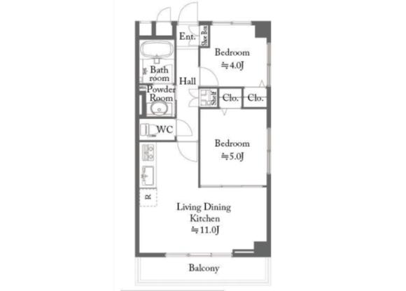 2LDK Apartment to Buy in Kita-ku Floorplan