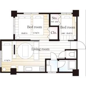 2LDK Apartment in Yochomachi - Shinjuku-ku Floorplan