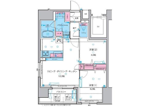 在台东区内租赁2LDK 公寓大厦 的 楼层布局