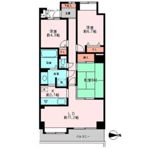 3LDK Mansion in Machiya - Arakawa-ku Floorplan