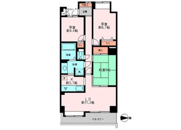 3LDK Apartment to Rent in Arakawa-ku Floorplan