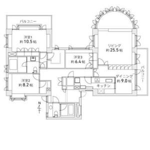 3LDK {building type} in Tairamachi - Meguro-ku Floorplan