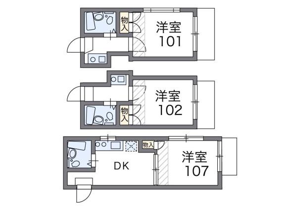 在品川區內租賃1K 公寓 的房產 房間格局