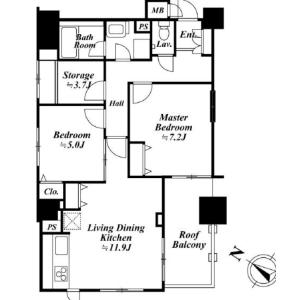 2SLDK Mansion in Kamiosaki - Shinagawa-ku Floorplan