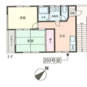 相模原市中央区淵野辺-2DK公寓 楼层布局