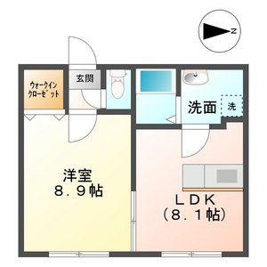 瑞穂市本田-1LDK公寓 楼层布局