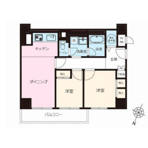 2DK {building type} in Higashigotanda - Shinagawa-ku Floorplan