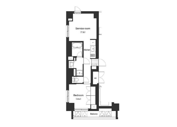 2K Apartment to Rent in Minato-ku Floorplan