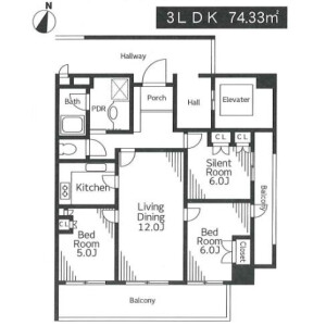 3LDK Apartment in Yoga - Setagaya-ku Floorplan