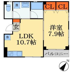 1LDK Mansion in Nobuto - Chiba-shi Chuo-ku Floorplan