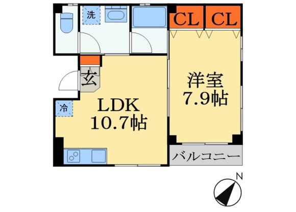 1LDK Apartment to Rent in Chiba-shi Chuo-ku Floorplan