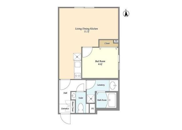1LDK Apartment to Rent in Nakano-ku Floorplan