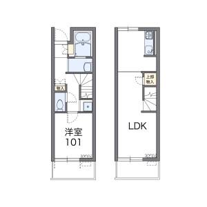 1LDK Apartment in Fukudomi - Kamimashiki-gun Mashiki-machi Floorplan