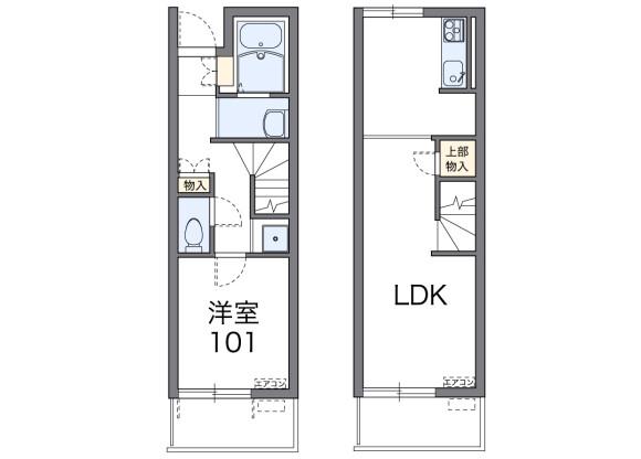 1LDK Apartment to Rent in Kamimashiki-gun Mashiki-machi Floorplan