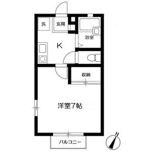 1K Apartment in Wakamiyadai - Yokosuka-shi Floorplan