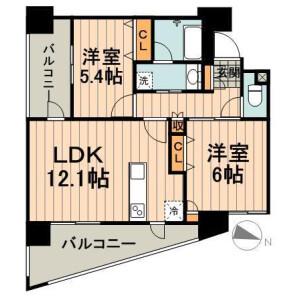 2LDK Mansion in Iwamotocho - Chiyoda-ku Floorplan