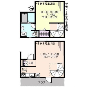 1LDK Apartment in Kaminoge - Setagaya-ku Floorplan
