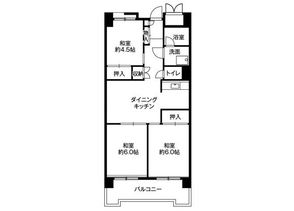 3DK Apartment to Rent in Shinagawa-ku Floorplan