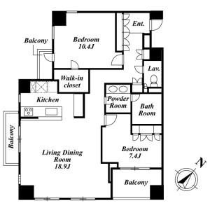 2LDK Mansion in Azabunagasakacho - Minato-ku Floorplan