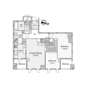 2LDK {building type} in Akasaka - Minato-ku Floorplan