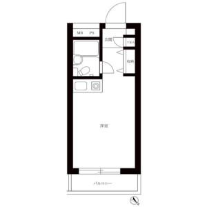 目黒區洗足-1R公寓大廈 房間格局