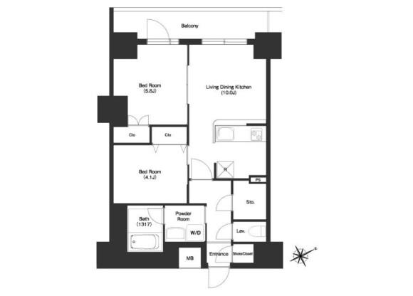 在江東區內租賃2LDK 公寓大廈 的房產 房間格局