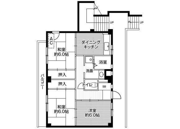 3DK Apartment to Rent in Fujisawa-shi Floorplan