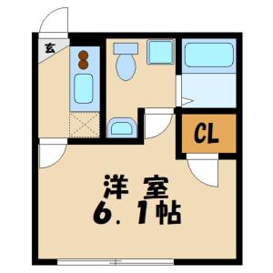 1K Apartment in Tamuracho - Atsugi-shi Floorplan