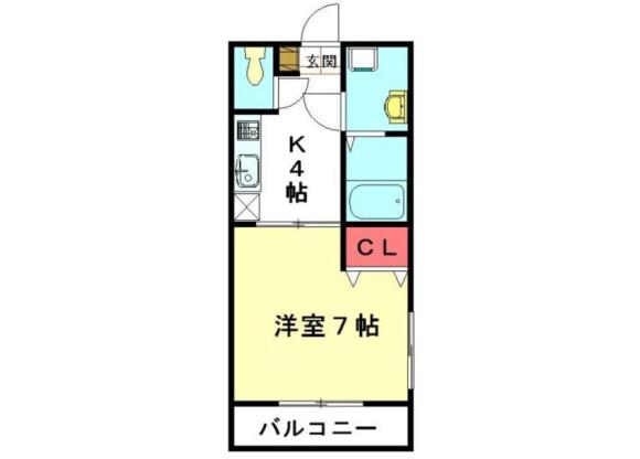1K Apartment to Rent in Kitamoto-shi Floorplan