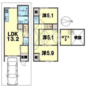 3LDK {building type} in Nishikujo kawarajocho - Kyoto-shi Minami-ku Floorplan