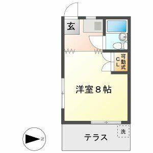 岐阜市三田洞-1K公寓 房間格局