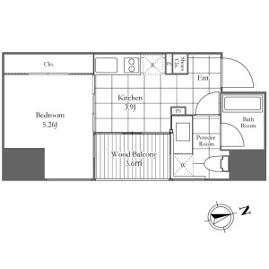 港區麻布十番-1K公寓大廈 房間格局