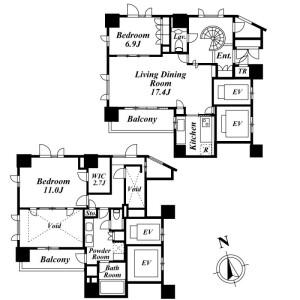 2LDK Mansion in Haramachi - Shinjuku-ku Floorplan