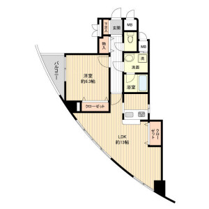 1LDK Mansion in Mukogaoka - Bunkyo-ku Floorplan