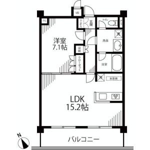 1LDK Apartment in Kaigan(3-chome) - Minato-ku Floorplan
