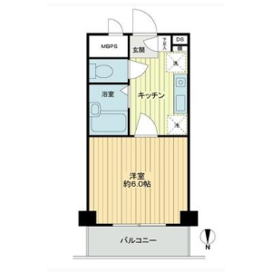 1K Apartment in Yoyogi - Shibuya-ku Floorplan