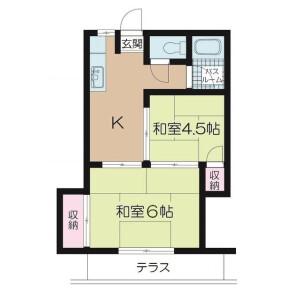 2K Apartment in Higashicho - Koganei-shi Floorplan