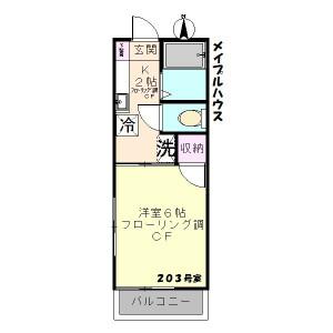 小平市美園町-1K公寓 楼层布局